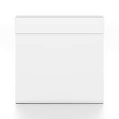 White thin rectangle blank box with cover from top front angle.