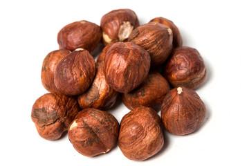 Shelled hazelnuts isolated on white