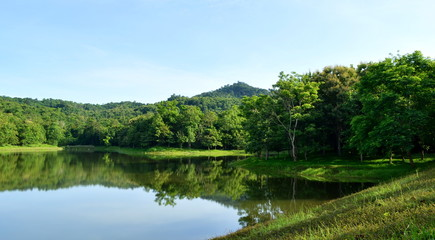 Scenic view of lake and forest in morning day,chet khot-pong kon sao nature study center,saraburi city,thailand.