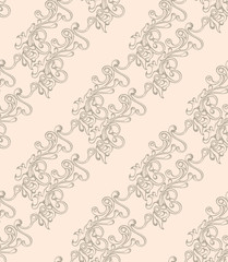 Seamless pattern with hatched ornament. Retro style. Vector illustration, eps10