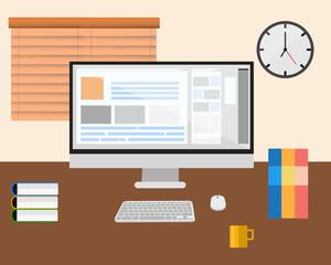 Workspace computer office vector.