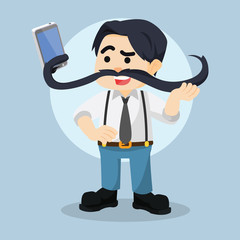 guy taking selfie with his moustache