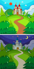 Scenes with castles in the forest day and night