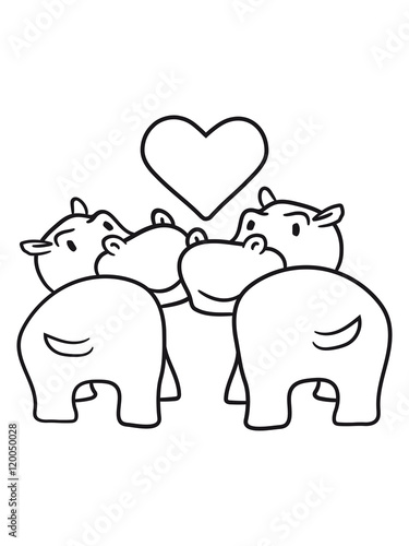 2 Friends Team Kissing Love Couple Couple Love Heart Thick Comic