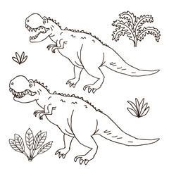 Vector hand drawn illustration jurassic