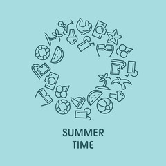 Summer time vector illustrations with icons