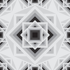 Vector geometric black and white seamless pattern. Stylish Aztec background.