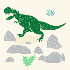 Vector hand drawn illustration with cute cartoon doodle dinosaur.