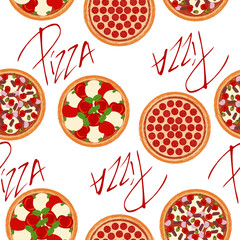 Cute seamless background pattern with different types of pizzas on the white fond. Vector illustration eps