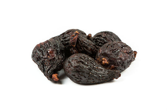 Black mission figs isolated on white background