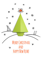 Christmas card with paper tree