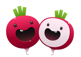 two radish cartoon character bright juicy on a white background