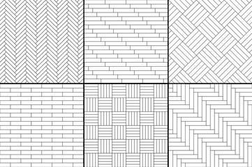 Obraz Black and white simple wooden parquet floor set - herringbone, stripes, squares seamless patterns, vector - fototapety do salonu