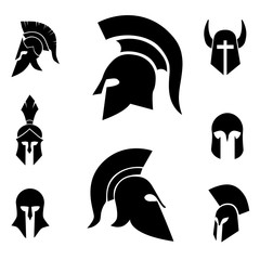 Helmet vector icon set.