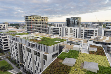 View of green roof on modern buildings in Sydney, Australia
