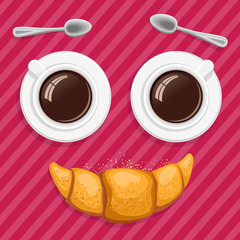 Smiling breakfast. Two cups of coffee, spoons and a croissant. Funny cartoon vector icon.