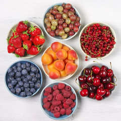 Various fruits in bowls