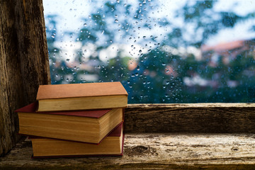books on the windowsill