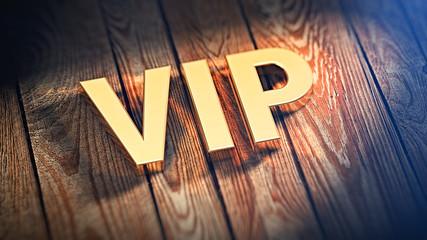 Acronym VIP on wood planks