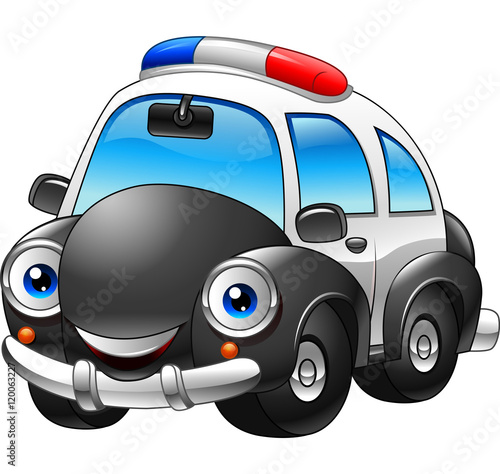 """""""Cartoon Police Car Character"""" Stock Image And Royalty"""