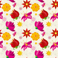 Wall Mural - Vector seamless pattern with flowers and floral element