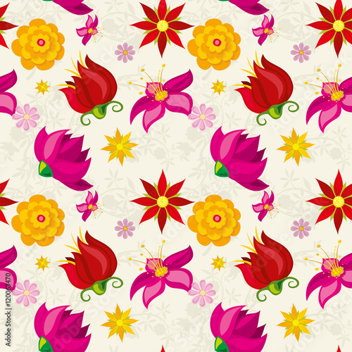 Wall mural Vector seamless pattern with flowers and floral element