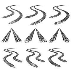 Tire trace road. Vector collection