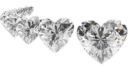 Sweet ten diamonds. 3D illustration. 3D CG. High resolution. Format 16:9.
