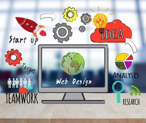 computer on desktop with web design website homepage ideas programming concept