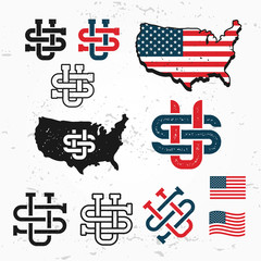 Made in USA monogram vector set. Vintage America logo design. Retro United States seal. US label illustration. Map graphic on grunge background.