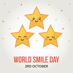World smile day card with cute golden stars on gradient background.