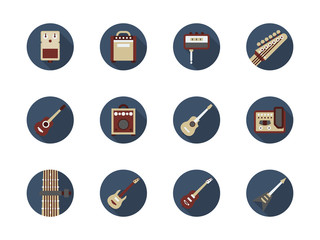 Guitar stuff round color vector icons