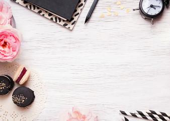 Cute feminine stuff on white table