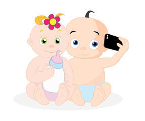 Couple of baby taking selfie, vector illustration