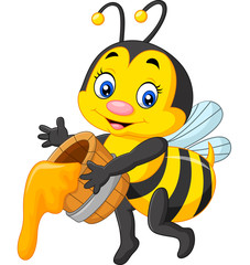 Cute bee holding honey