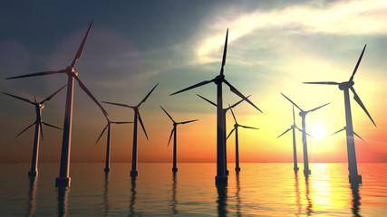 Wind power turbines at sea sunset. 3D rendering