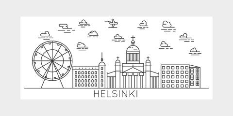Helsinki, Finland, city vector illustration
