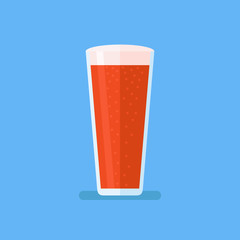 Glass of red beer isolated on blue background. Ale vector illustration. Flat style icon.