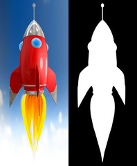 Illustration of a starting red cartoon rocket on blue sky