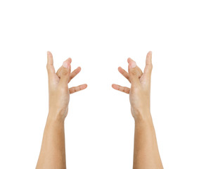 Hands reaching up, isolated on white background