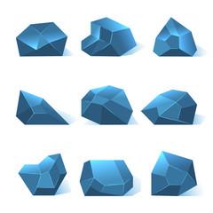 Ice rock pieces vector set