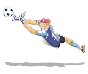 Soccer Goalkeeper Protecting gates. Vector flat illustration