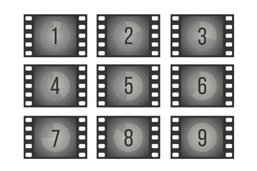 Old cinema film countdown movie frames with numbers vector set