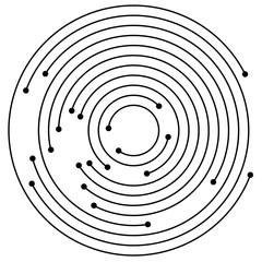 Random concentric circles with dots. Circular, spiral design ele