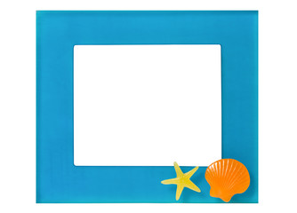 blue handicraft resin frame decorated with resin yellow starfish and orange shell on white background