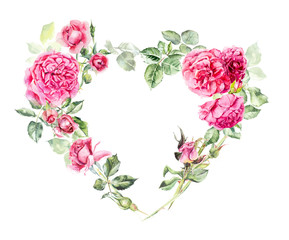 Frame heart from roses. Wedding drawings. Greeting cards. Watercolor hand drawn illustration