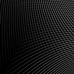 Grid - mesh of dynamic curved lines. Abstract geometric pattern.