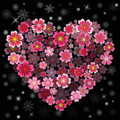 Christmas Flower heart with Snowflakes. Christmas background.