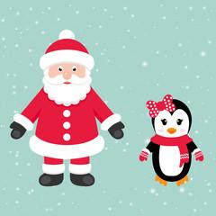 cartoon santa claus with penguin