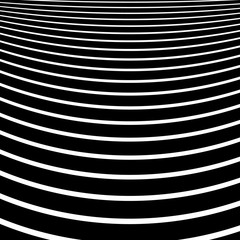 Distorted, warped lines geometric monochrome pattern. Black and